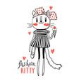 fashion kawaii kitty of a cat vector image vector image