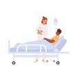 female doctor visit black skin man at hospital vector image vector image