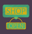 flat icon in shading style label store opened vector image