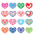 Folk art hearts with flowers and birds icons set vector image vector image