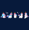 funny unicorn cartoon unicorn collection vector image
