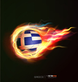Greece flag with flying soccer ball on fire vector image vector image