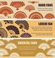 hand oriental fans silhouettes banners vector image