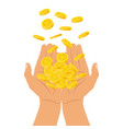 hands holding a pile of coins falling from above vector image vector image