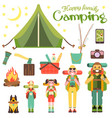 happy family go camping in vector image vector image