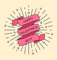 happy valentines day greeting card with ribbon vector image vector image
