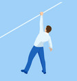 isometric businessman tightrope walker is on the vector image