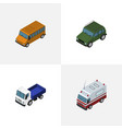 isometric transport set of autobus first-aid vector image