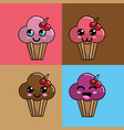 kawaii set cup cake icon with beautiful vector image