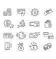 large set black and white money icons vector image