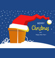 Merry christmas card with present gift and santa