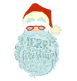 merry christmas lettering in santa claus beard vector image