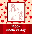 Mothers day Childs drawing son gives mom a flower vector image vector image