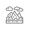 mountains and rocks landscape line icon vector image vector image