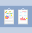 pair of big white papers with collection of charts vector image vector image
