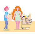 people hoarding purchase couple characters with vector image