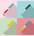 pipette medical dropper tool icons set flat style vector image