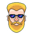 pixel hipster portrait detailed isolated vector image