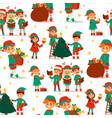 santa claus elf kids cartoon elf helpers vector image vector image