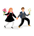 school children boy and girl with flowers vector image vector image