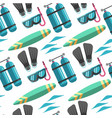 scuba diving equipment and surfboard summer vector image vector image