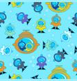 seamless kids pattern scuba bubble flat vector image
