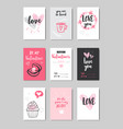 set different love greeting cards happy valentines vector image