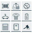 set of 9 commerce icons includes rebate sign vector image