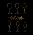 set of gold wine glasses vector image vector image