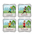 set of people running round icons vector image