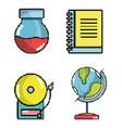 set of school elements pixel art vector image vector image