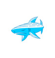 shark logo design outline editable template vector image vector image