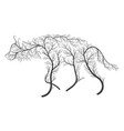 Silhouette of a hyena stylized by bushes on a