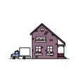 small two-storey suburban house with porch built vector image vector image