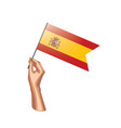 spain flag and hand on white background vector image