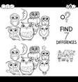 spot the difference with owls coloring book vector image vector image