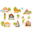 summer beach houses set people enjoying tropical vector image