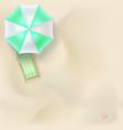 sun lounger under parasol on the sandy beach vector image vector image
