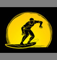 surfer surfing sport male player action cartoon vector image