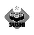 sushi reastaurant promotional monochrome emblem vector image vector image