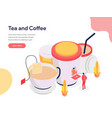 tea and coffee concept isometric design concept vector image vector image