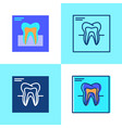 tooth x-ray icon set in flat and line style vector image vector image
