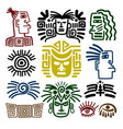 tribal face drawings set vector image vector image