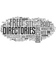 web directories paid and free text word cloud vector image vector image
