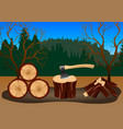 wood harvesting in the forest vector image