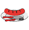 dish and cutlery with sausage vector image