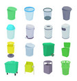 Trash bin set icons vector image