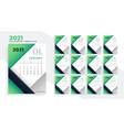 2021 happy new year stylish green calendar design vector image