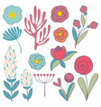 a set of stylized flowers vector image
