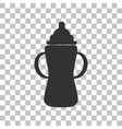 Baby bottle sign Dark gray icon on transparent vector image vector image